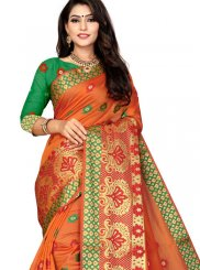 Orange Weaving Festival Traditional Designer Saree
