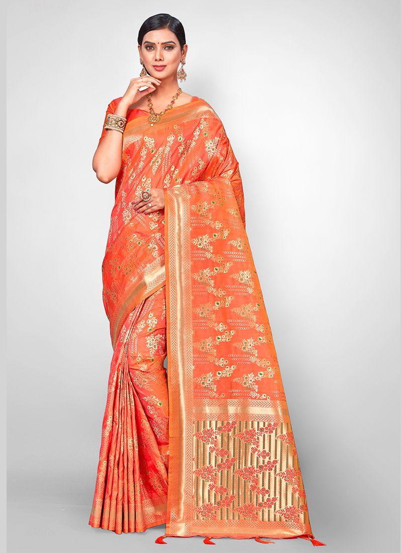 Orange Weaving Jacquard Silk Traditional Designer Saree