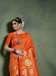 Orange Weaving Party Designer Saree