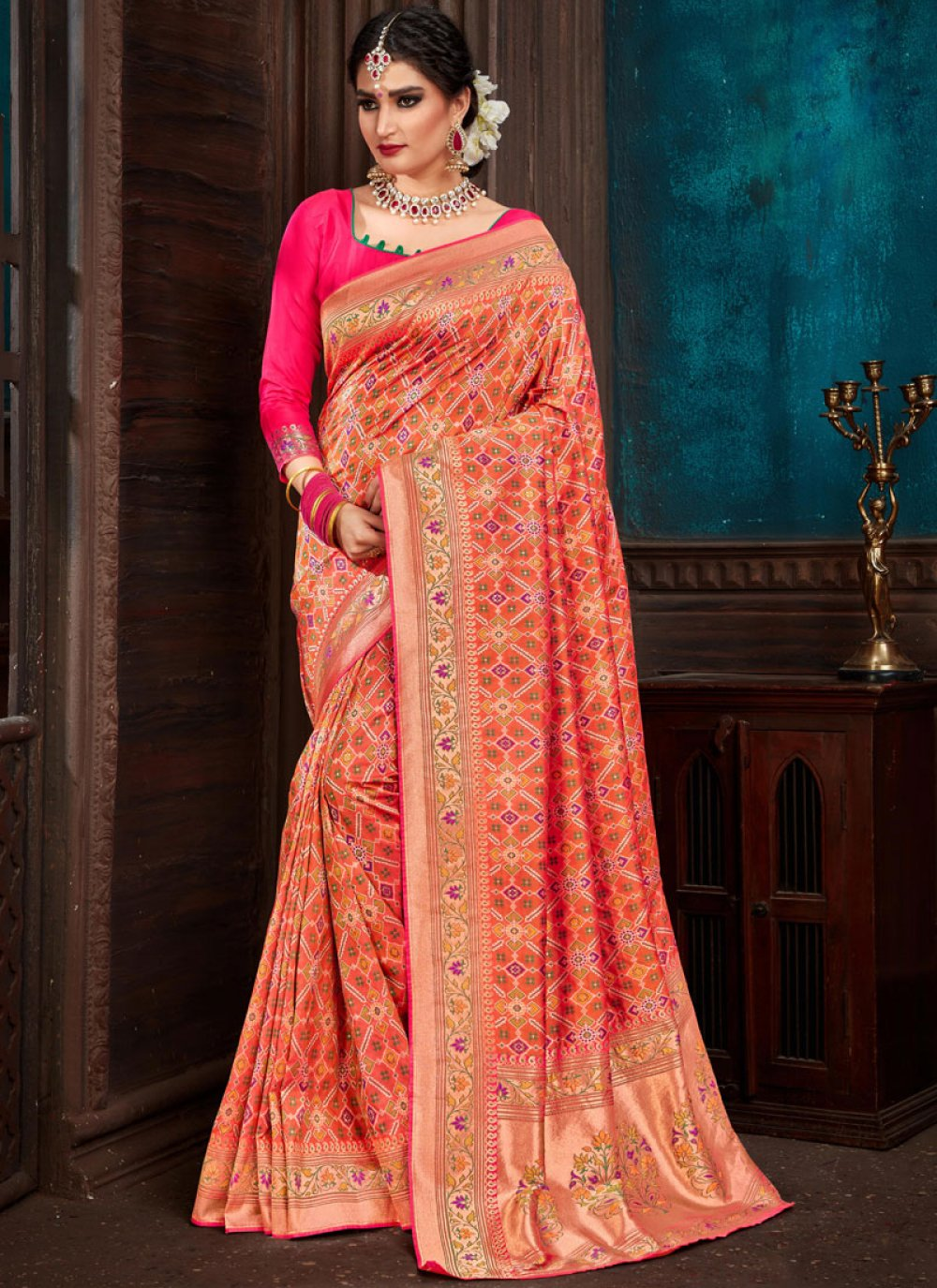 Orange Weaving Reception Classic Designer Saree