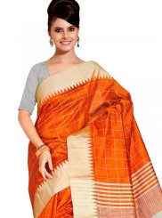 Orange Weaving Traditional Saree