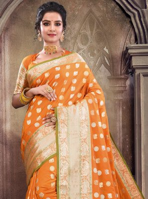 Orange Weaving Wedding Traditional Designer Saree