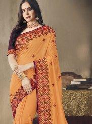 Orange Wedding Art Silk Classic Saree