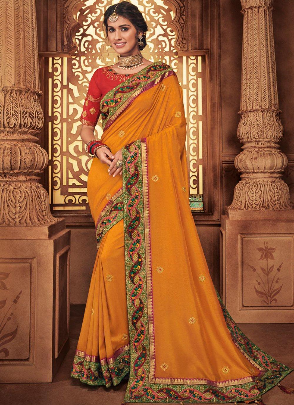 Orange Wedding Art Silk Traditional Designer Saree