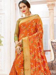 Orange Wedding Art Silk Traditional Designer Saree