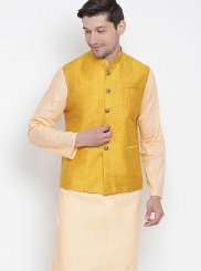 Orange Wedding Cotton Kurta Payjama With Jacket