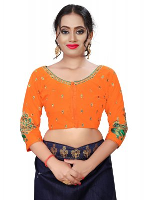 Orange Wedding Designer Blouse