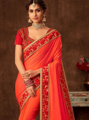 Orange Wedding Designer Traditional Saree