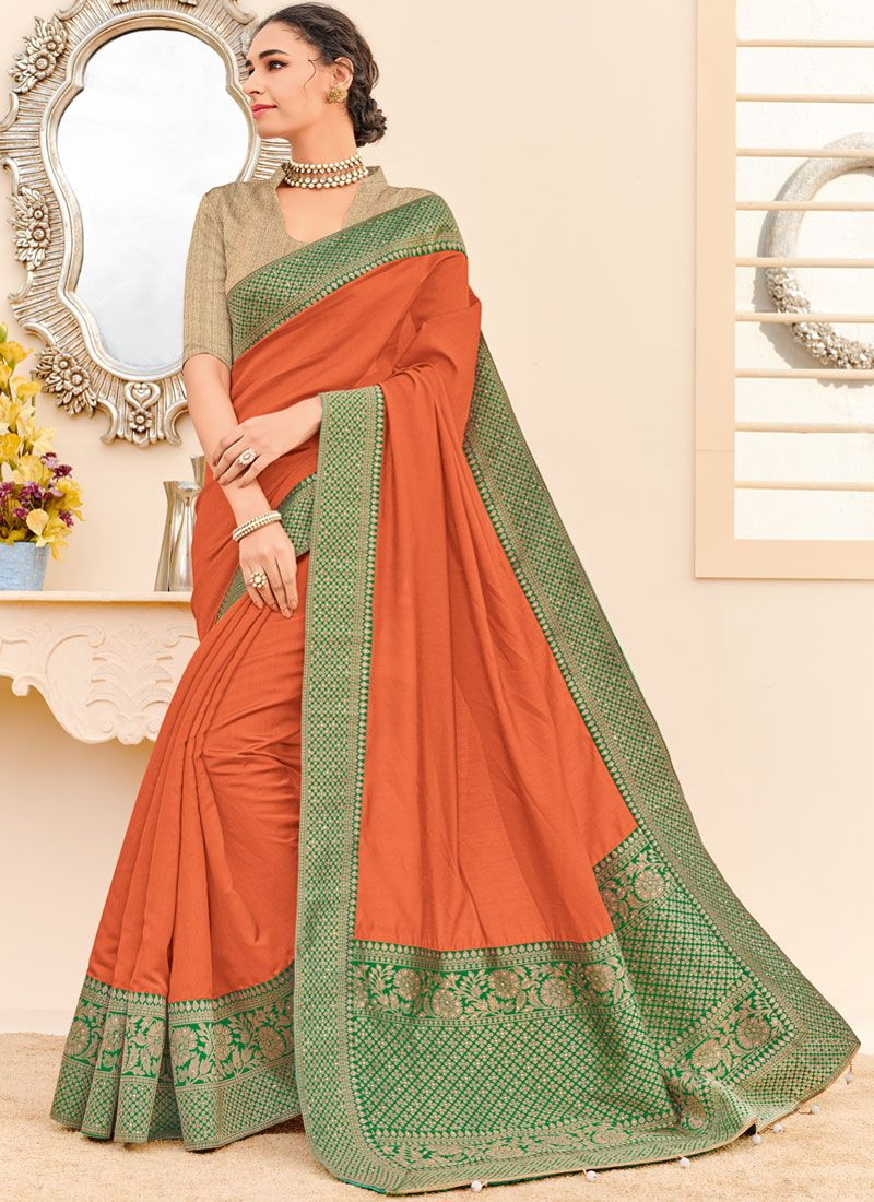 Orange Wedding Fancy Fabric Designer Traditional Saree