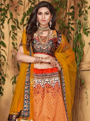 Orange Wedding Satin Designer Lehenga Choli