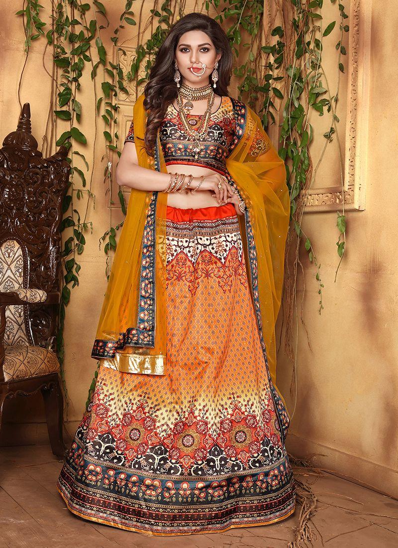 Orange Wedding Satin Designer Lehenga Choli