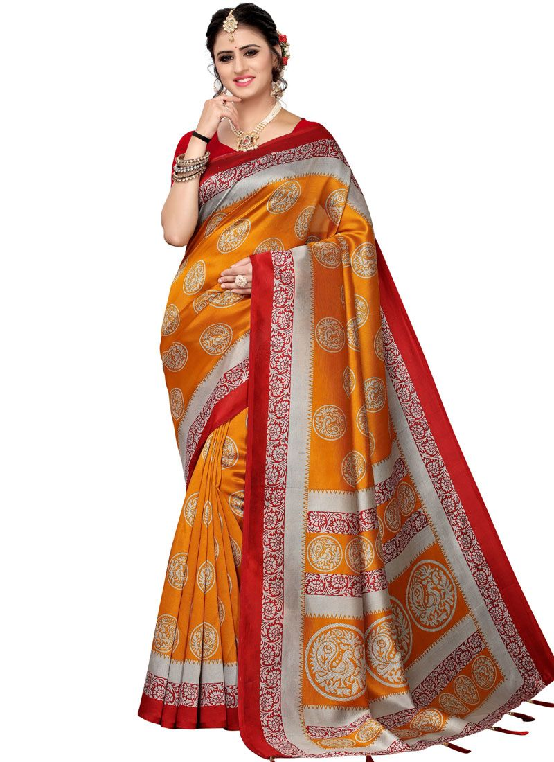 Orange Woven Art Silk Traditional Saree