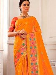 Orange Woven Cotton Silk Traditional Saree
