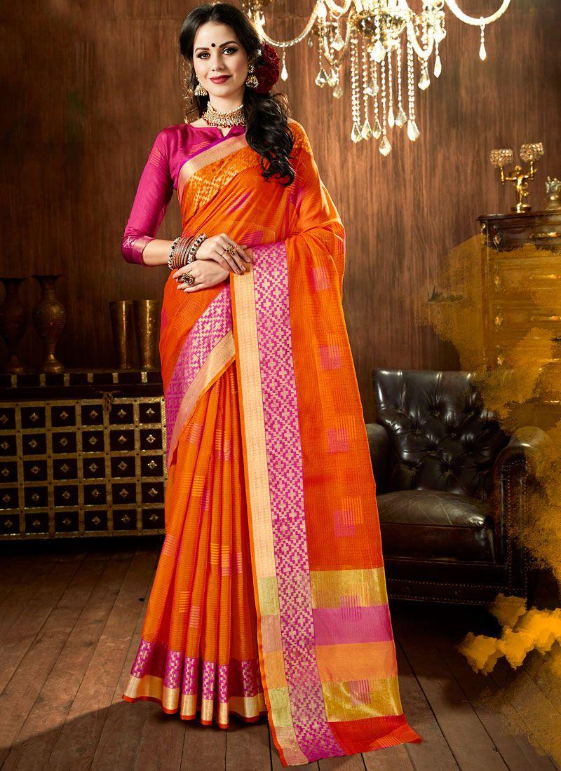 Orange Woven Designer Traditional Saree