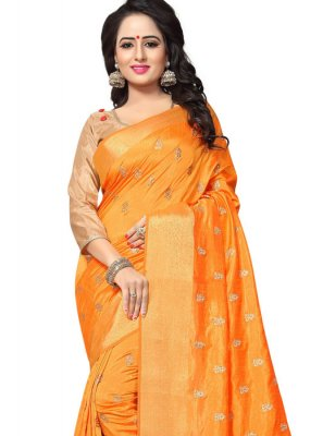 Orange Woven Designer Traditional Saree