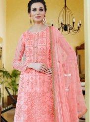 Organza Embroidered Designer Palazzo Salwar Kameez in Pink