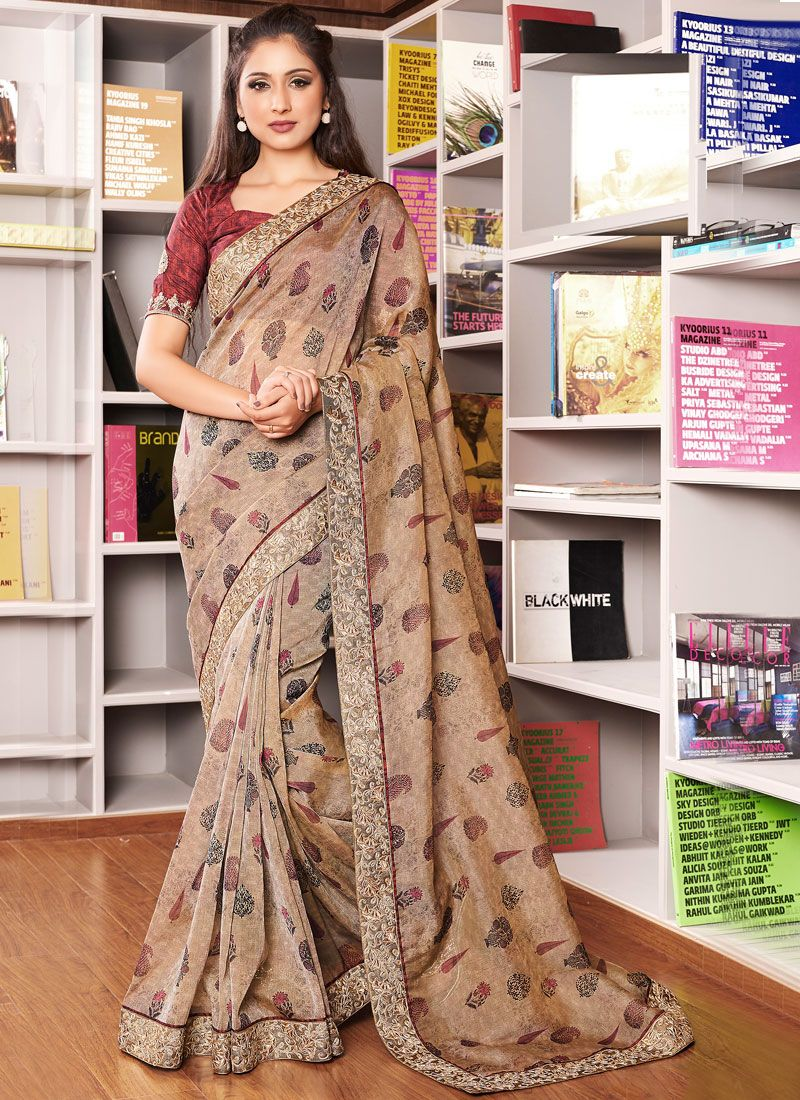 Organza Embroidered Designer Traditional Saree