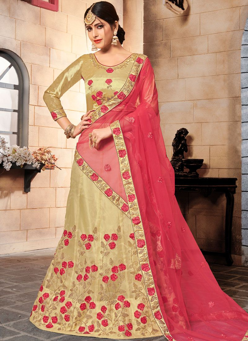 Organza Embroidered Gold Designer Lehenga Choli