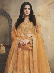 Organza Embroidered Trendy Lehenga Choli in Mustard