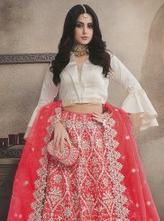 Organza Embroidered Trendy Lehenga Choli in Red
