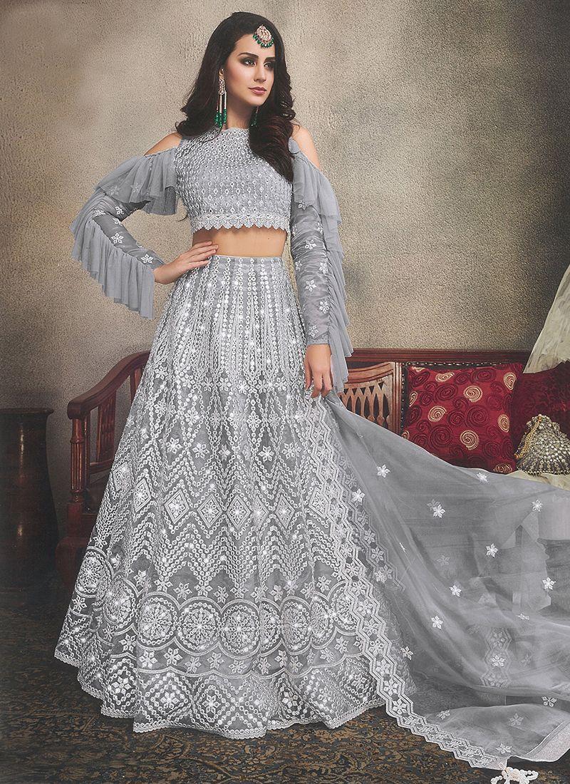 Organza Grey Designer Lehenga Choli