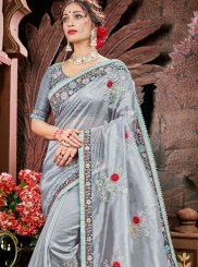 Organza Grey Embroidered Classic Saree