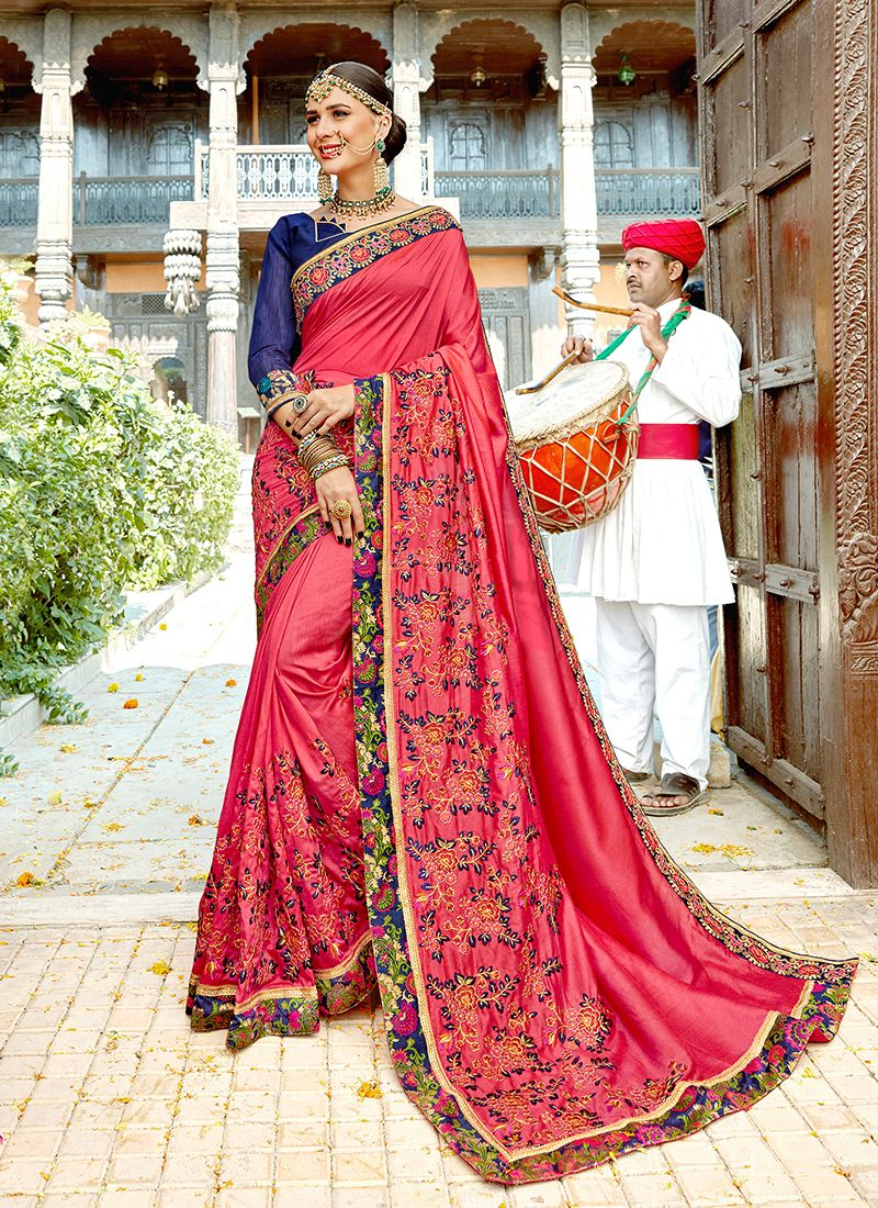 Organza Hot Pink Designer Traditional Saree