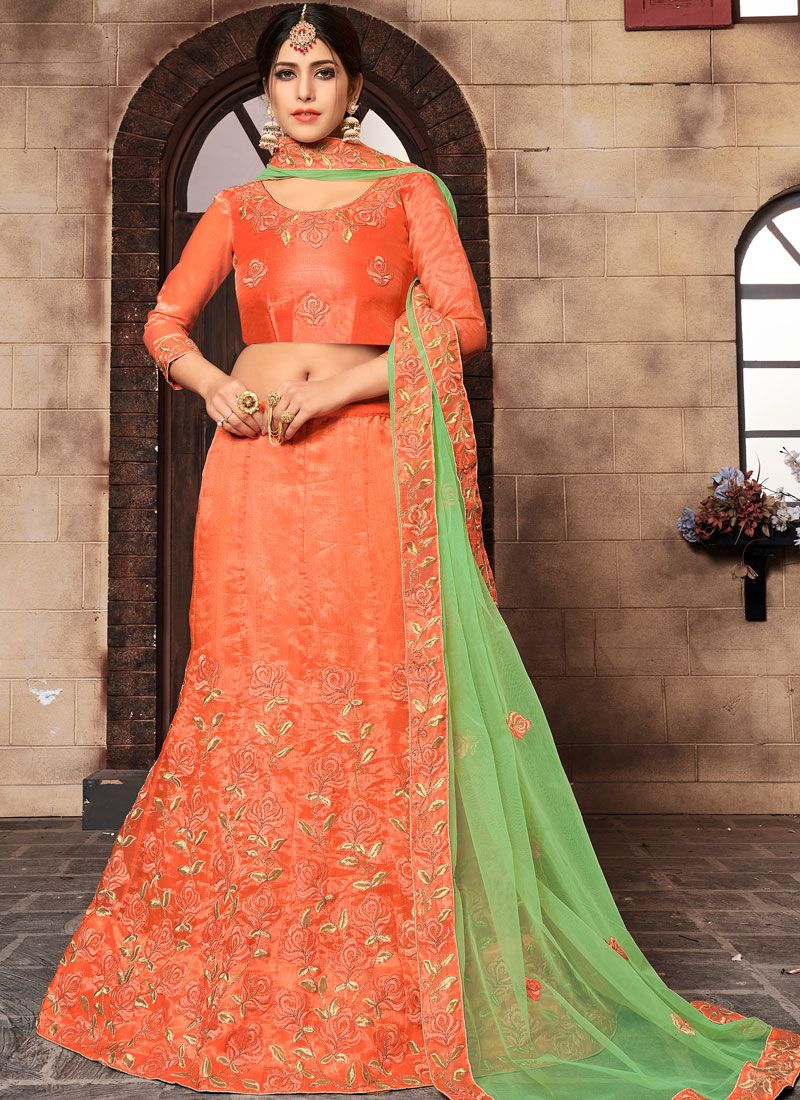 Organza Orange Designer Lehenga Choli