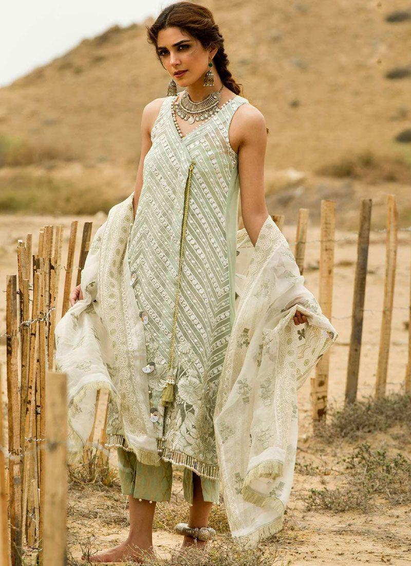 Organza Resham Green Designer Suit