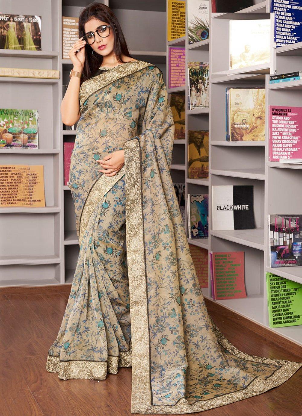 Organza Traditional Designer Saree in Green