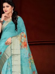 Organza Turquoise Printed Traditional Saree