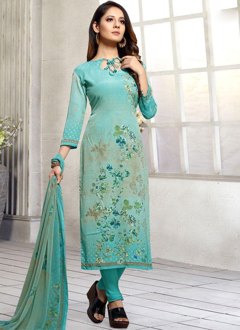 Pakistani Salwar Kameez Printed Faux Georgette in Turquoise