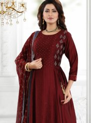 Palazzo Designer Salwar Kameez Embroidered Chanderi in Maroon