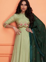 Palazzo Designer Salwar Kameez Embroidered Muslin in Sea Green