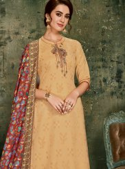 Palazzo Designer Suit Embroidered Jacquard in Cream