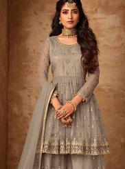 Palazzo Designer Suit Embroidered Net in Beige