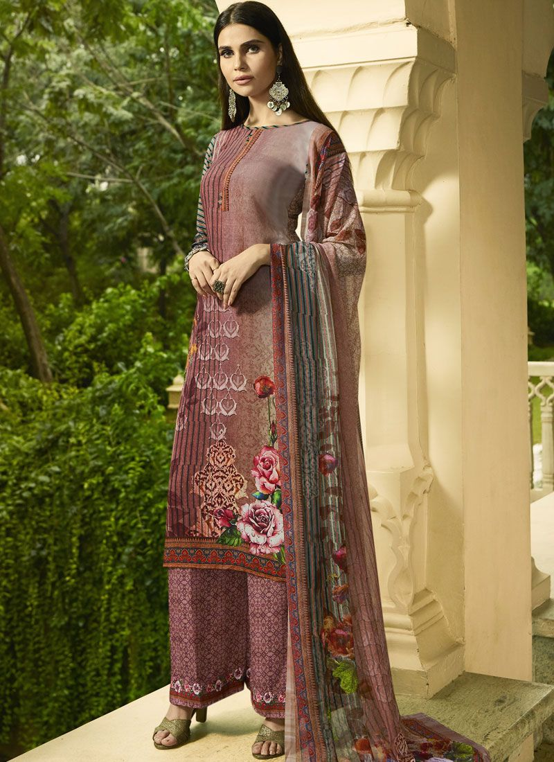 Palazzo Salwar Kameez Digital Print Faux Crepe in Multi Colour