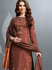 Palazzo Salwar Kameez Embroidered Cotton in Brown