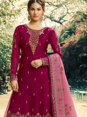 Palazzo Salwar Suit Embroidered Faux Georgette in Maroon