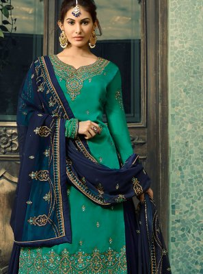 Palazzo Salwar Suit Embroidered Faux Georgette in Teal