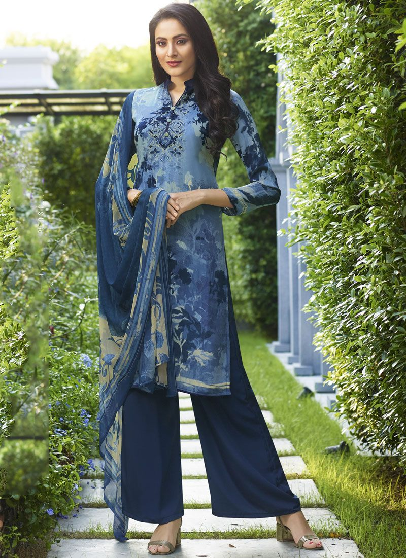 Palazzo Suit Abstract Print Faux Crepe in Blue