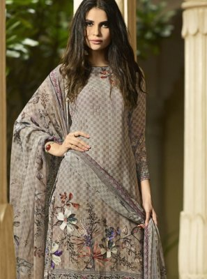 Palazzo Suit Digital Print Faux Crepe in Grey