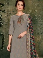 Palazzo Suit Lace Jacquard in Grey
