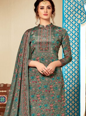 Pant Style Suit Abstract Print Faux Crepe in Multi Colour