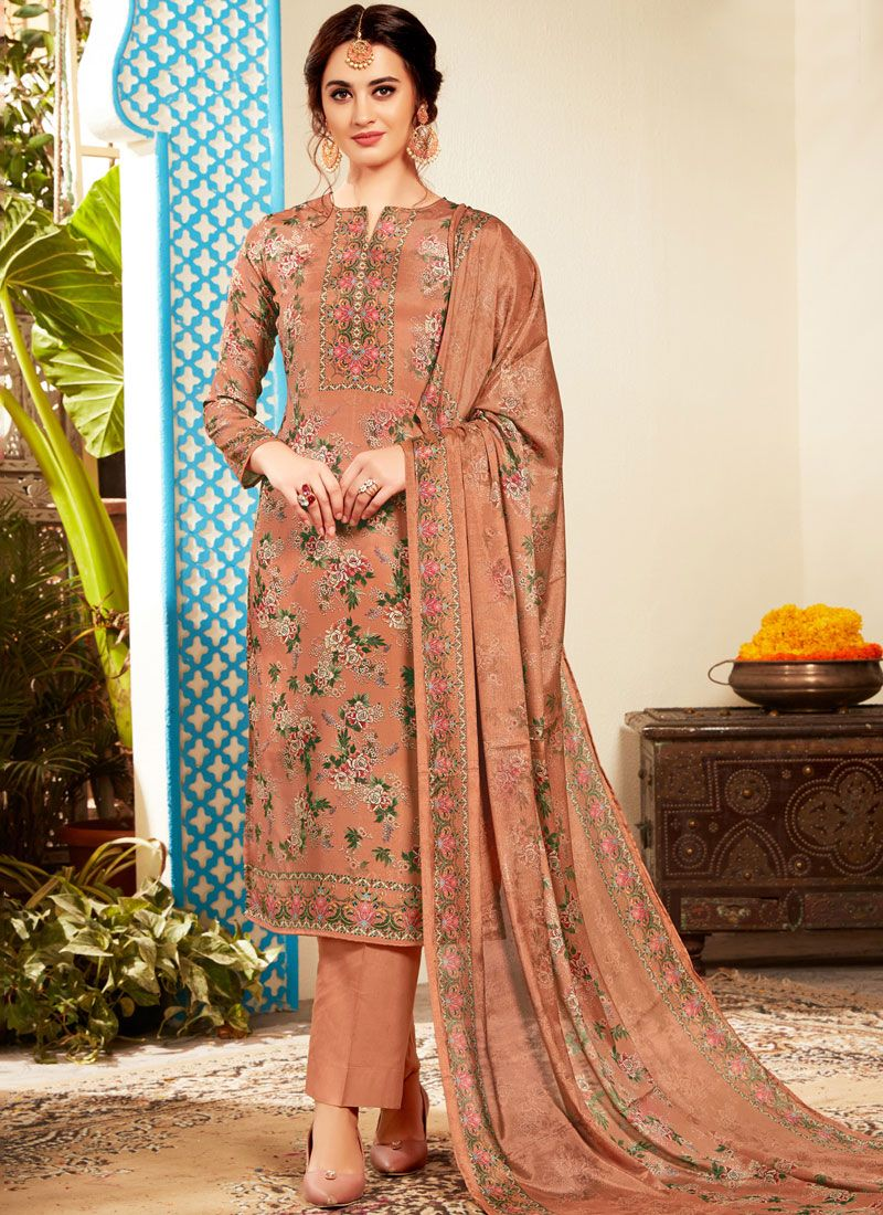 Pant Style Suit Abstract Print Viscose in Multi Colour