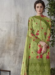 Pant Style Suit Digital Print Faux Georgette in Green