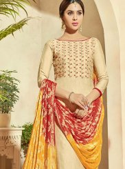 Pant Style Suit Embroidered Banarasi Silk in Cream