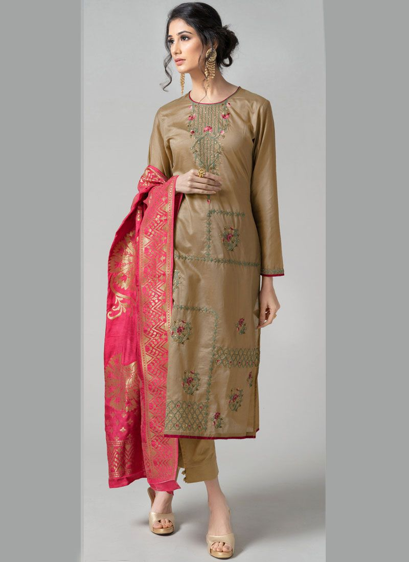 Pant Style Suit Embroidered Chanderi in Beige