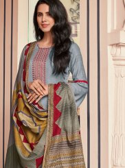 Pant Style Suit Embroidered Cotton in Grey