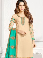 Pant Style Suit Embroidered Faux Georgette in Cream